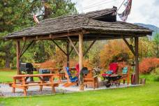 Log Gazebo with Fire Pit & BBQ
